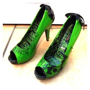 Ironfist Green & Black Skull Corset High Heel, 10